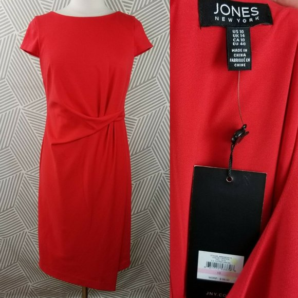 Jones New York Dresses & Skirts - New Jones New York Size 10 Dress Faux Wrap Tuck